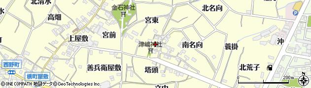 愛知県西尾市上町(北側)周辺の地図