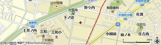 愛知県西尾市米野町周辺の地図
