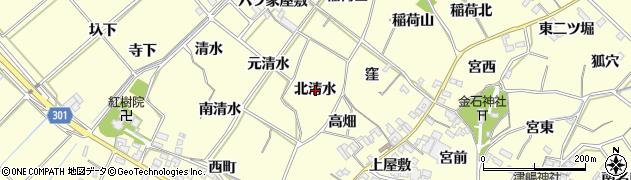 愛知県西尾市上町(北清水)周辺の地図