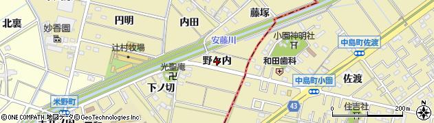 愛知県西尾市米野町(野々内)周辺の地図