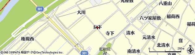 愛知県西尾市上町(圦下)周辺の地図