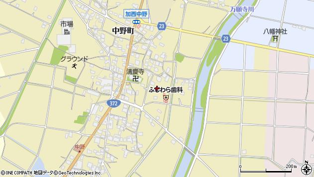 〒675-2102 兵庫県加西市中野町の地図