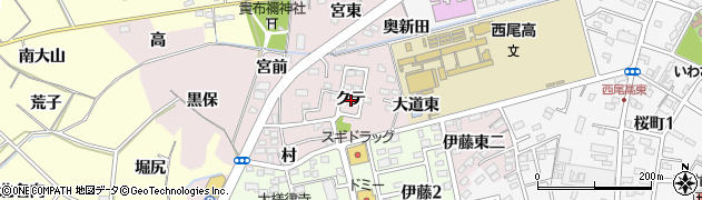 愛知県西尾市伊藤町(クテ)周辺の地図