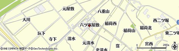 愛知県西尾市上町(六ツ家屋敷)周辺の地図