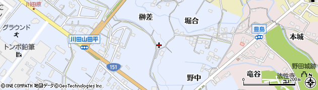 愛知県新城市川田(榊差)周辺の地図