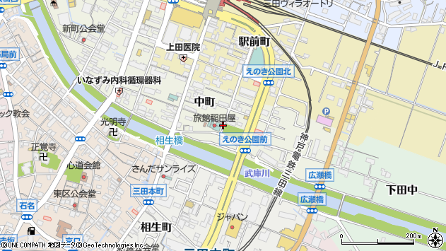 〒669-1527 兵庫県三田市中町の地図