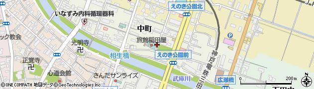 兵庫県三田市中町周辺の地図