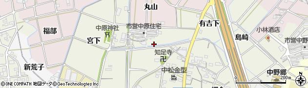 愛知県西尾市中原町(堀割)周辺の地図