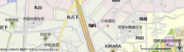 愛知県西尾市中原町(島崎)周辺の地図