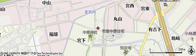 愛知県西尾市中原町(西田)周辺の地図