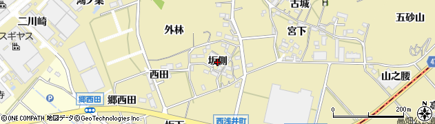 愛知県西尾市西浅井町(坂側)周辺の地図