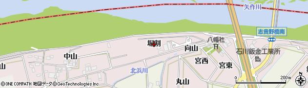 愛知県西尾市志貴野町(堀割)周辺の地図