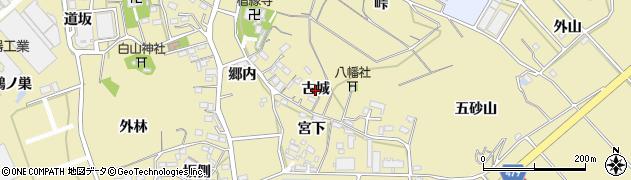 愛知県西尾市西浅井町(古城)周辺の地図