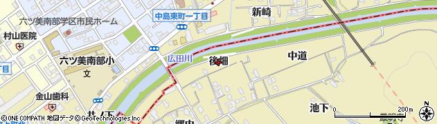 愛知県西尾市上羽角町(後畑)周辺の地図