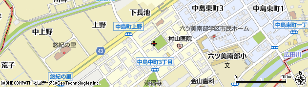 愛知県岡崎市中島中町周辺の地図
