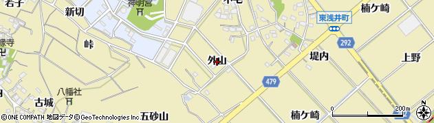 愛知県西尾市東浅井町(外山)周辺の地図
