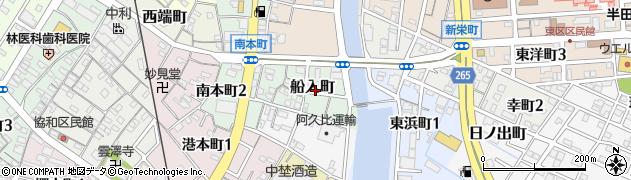 愛知県半田市船入町周辺の地図