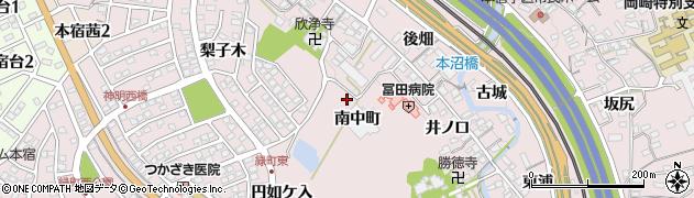 愛知県岡崎市本宿町(南中町)周辺の地図