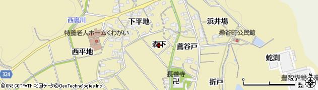 愛知県岡崎市桑谷町(森下)周辺の地図