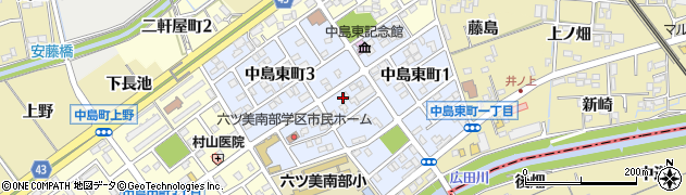 愛知県岡崎市中島東町周辺の地図