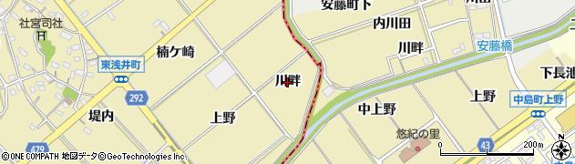 愛知県西尾市東浅井町(川畔)周辺の地図