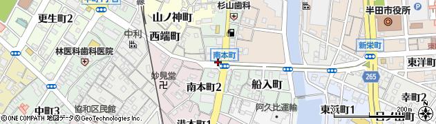 愛知県半田市南本町周辺の地図