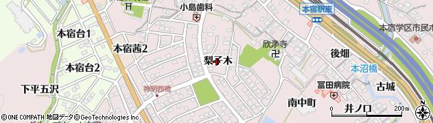 愛知県岡崎市本宿町(梨子木)周辺の地図