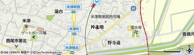 愛知県西尾市米津町(仲之畑)周辺の地図