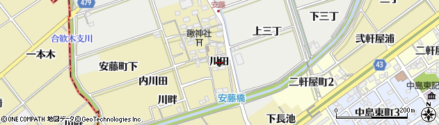 愛知県岡崎市安藤町(川田)周辺の地図