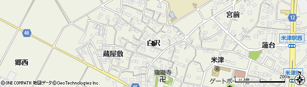 愛知県西尾市米津町(白沢)周辺の地図
