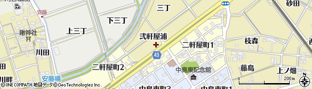 愛知県岡崎市正名町(弐軒屋浦)周辺の地図