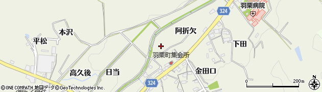 愛知県岡崎市羽栗町(大別当)周辺の地図