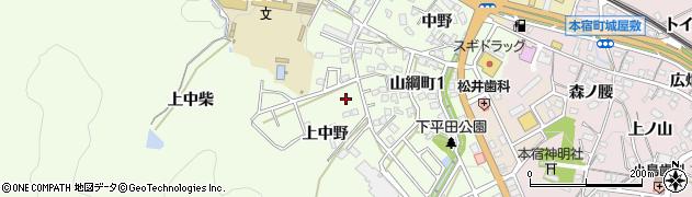 愛知県岡崎市山綱町(上中野)周辺の地図