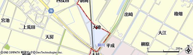 愛知県岡崎市上地町(大池)周辺の地図