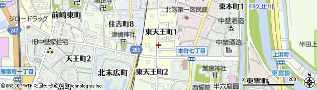 愛知県半田市東天王町周辺の地図