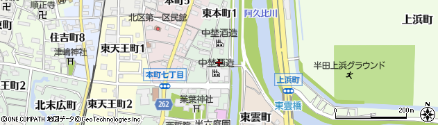愛知県半田市東本町周辺の地図