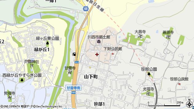 〒666-0107 兵庫県川西市下財町の地図