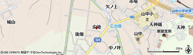 愛知県岡崎市舞木町(広池)周辺の地図