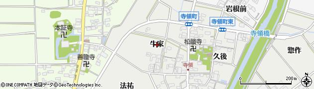 愛知県安城市寺領町(牛家)周辺の地図