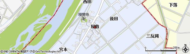愛知県西尾市高落町(屋敷)周辺の地図