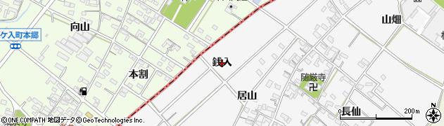 愛知県西尾市南中根町(銭入)周辺の地図