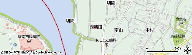 愛知県安城市東端町(西新田)周辺の地図