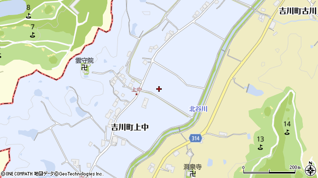 〒673-1104 兵庫県三木市吉川町上中の地図