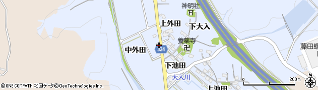 愛知県岡崎市池金町中外田周辺の地図