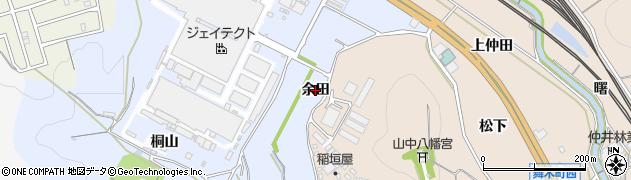 愛知県岡崎市市場町(余田)周辺の地図