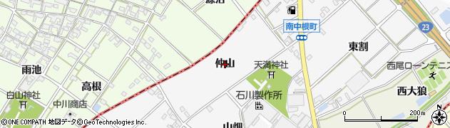 愛知県西尾市南中根町(仲山)周辺の地図
