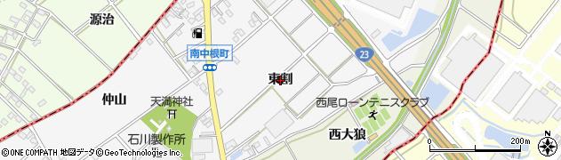 愛知県西尾市南中根町(東割)周辺の地図