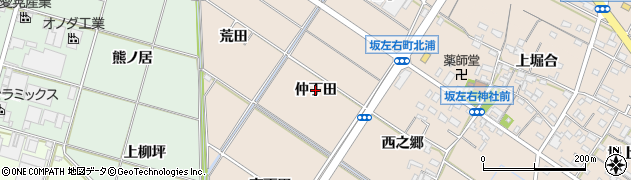 愛知県岡崎市坂左右町(仲丁田)周辺の地図