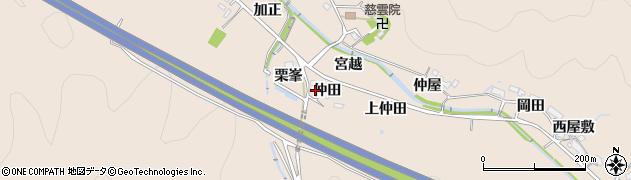 愛知県岡崎市鹿勝川町(仲田)周辺の地図