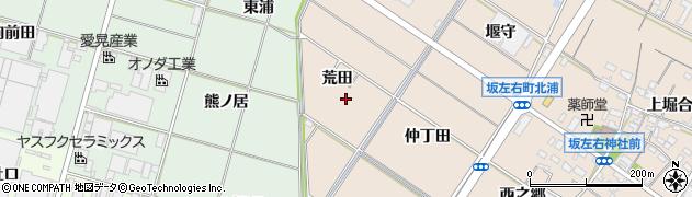 愛知県岡崎市坂左右町荒田周辺の地図